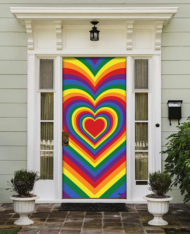 """Victory Corps Radiating Heart - Outdoor PRIDE LGBT Garage Door Banner Mural Sign Décor 36"""" x 80"""" Front Door -The Original Holiday Front Door Banner Decor"""