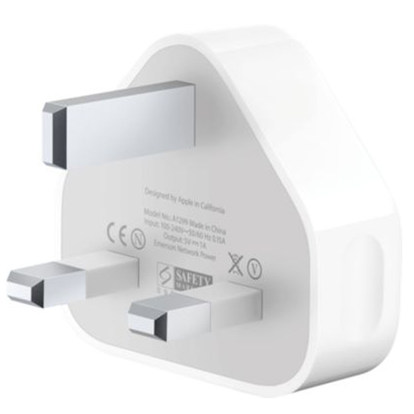 White 3-pin To USB Power UK Plug Adapter Charger For Apple iPhone 4 4S 4G