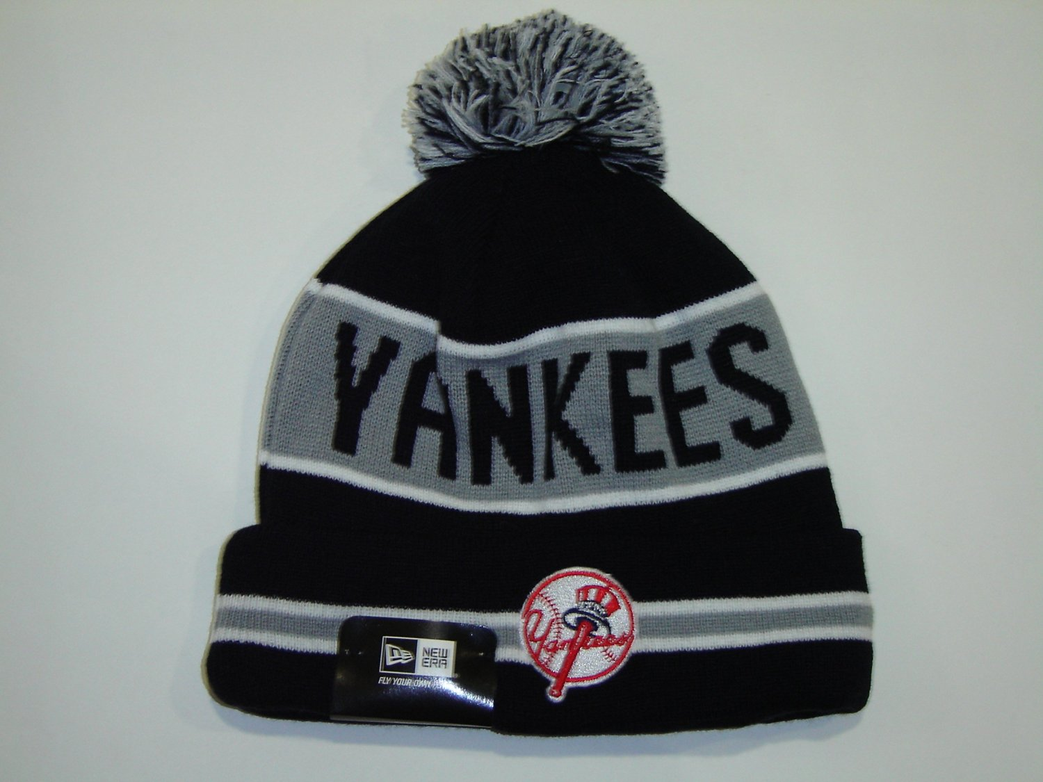 half off ec222 cddc0 Get Quotations · NEW ERA MLB New York Yankees Grey Striped Jake Cuffed Knit  Beanie