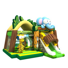 Latest design green jungle theme house kids elephant slide inflatable bouncing castle