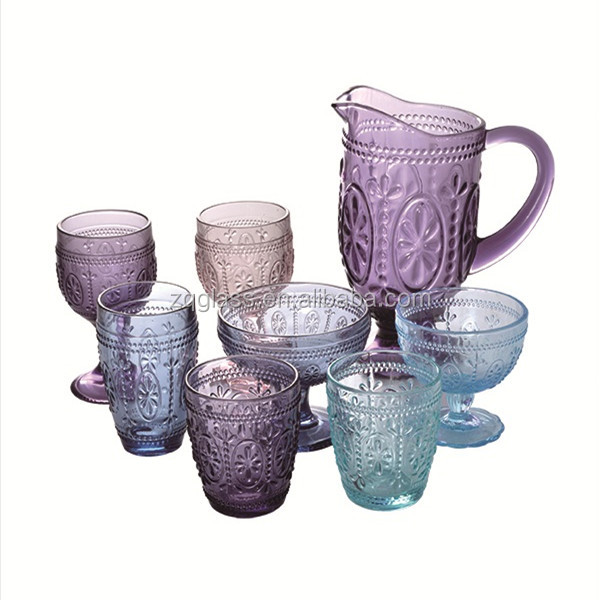 Pressed Semi-Transparent Color Spraying Drinkware Flower Emboss Wine Icecream Whisky Water Glass Cup Glasses Pitcher Jug