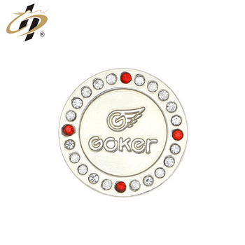 Custom sliver metal logo magnetic lapel pins with crystal stone