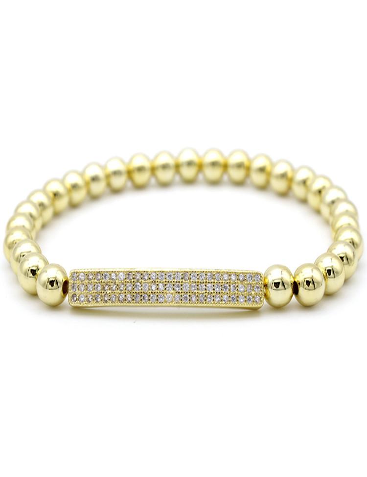 Bracelet Women 18kt Gold Plated 6mm Silver Gold Beads Zircon Bar Braiding Macrame Adjustable Silver Bracelets Men Jewelry фото