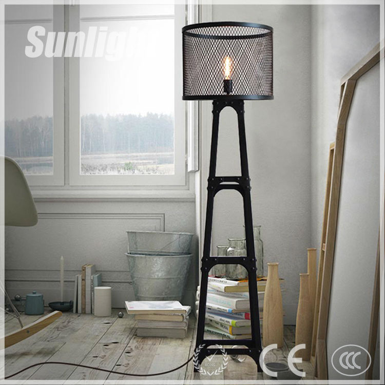amerikaanse landelijke loft retro vintage zwart metallic casting industri le ladder floor lamp. Black Bedroom Furniture Sets. Home Design Ideas