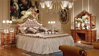 빅토리아 스타일의 황금 나무 조각 침대 하룻밤,왕궁 침실 가구 ...