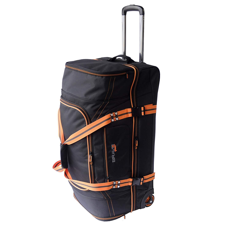 Get Quotations · Bravo Gear 30 Inch Rolling Upright Duffel Bag Softside  Carry On Luggage Blue Orange 2d5e48b1ef