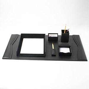 Bonded Leather Desk Set (6 Piece) (Black Leather with Gold Accents)