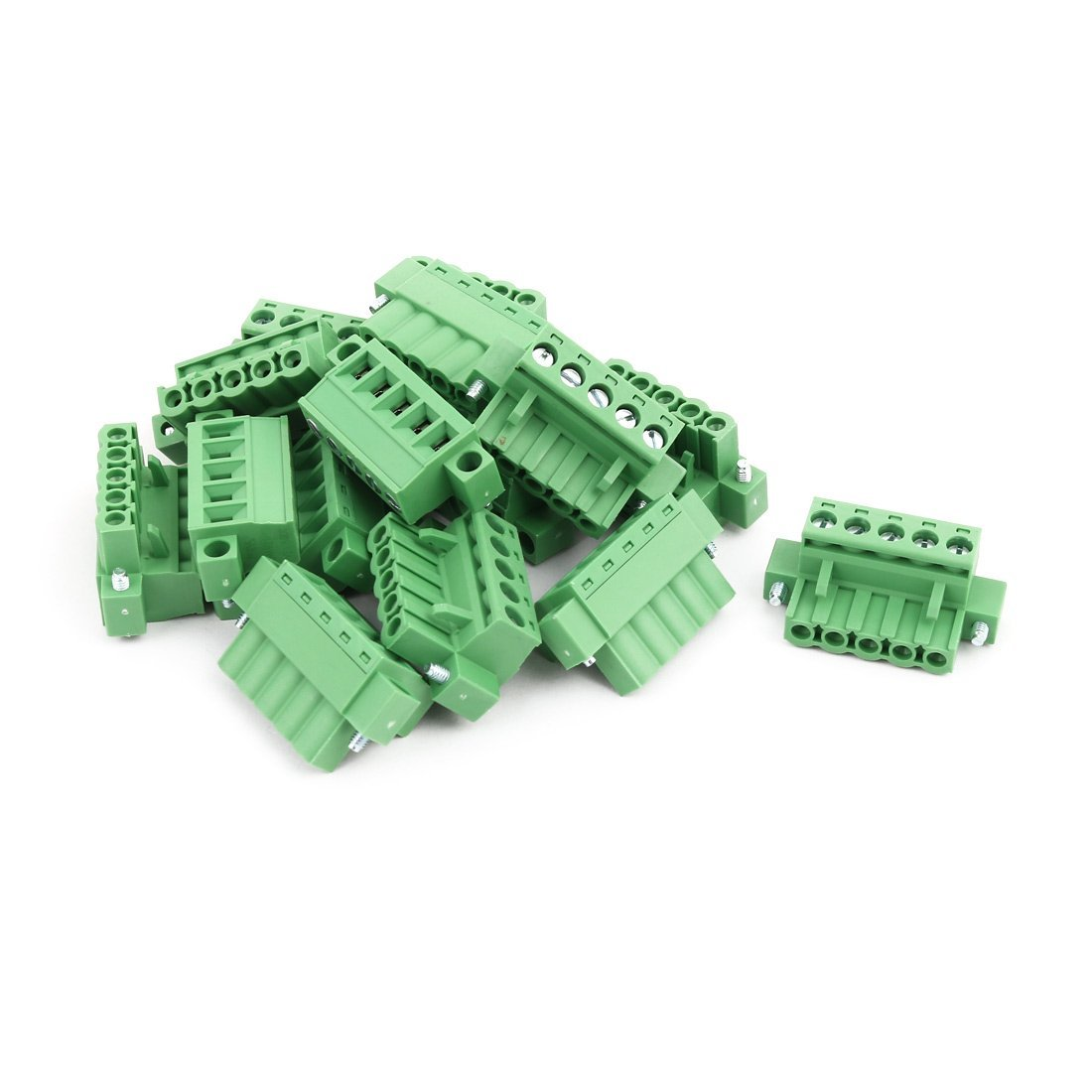 uxcell 15Pcs AC 300V 15A 5.0mm Pitch 5P Terminal Block Wire Connection for PCB Mounting