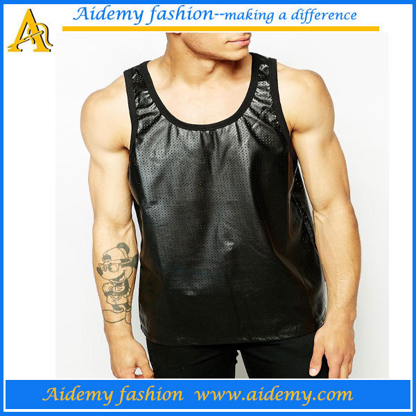 hot selling pu leather men leather vest