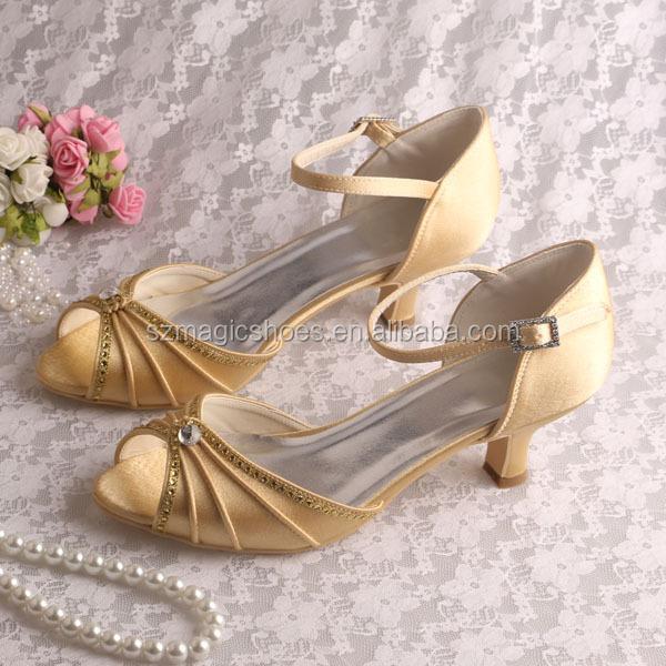 15 ColorsGolden Satin Low Heel Bridal Wedding Sandals