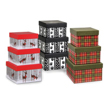 Wholesale flat pack cardboard nested christmas gift boxes with lids
