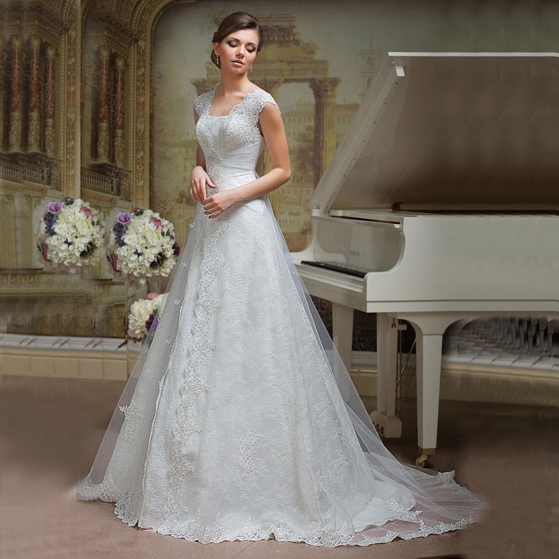 Popular High Quality Open Back Lace Wedding Dress Hot Sale