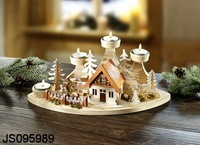 Wooden Christmas tree house decor with candle holder, 2016 New Christmas candle holder