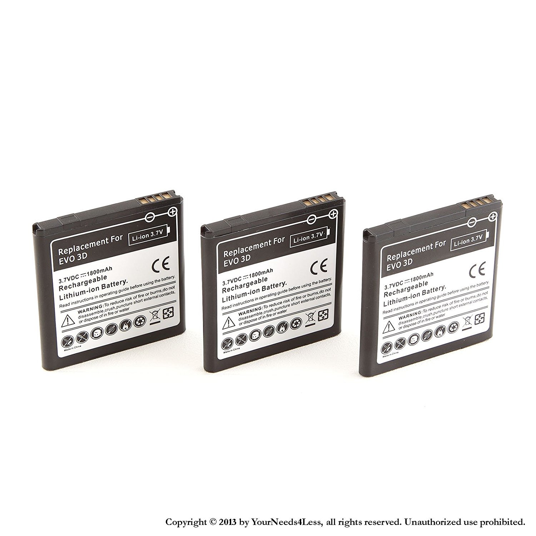 YN4L 3 X 1800mAh Replacement Batteries for HTC Amaze 4G ; HTC EVO 3D ; HTC EVO V 4G ; HTC Sensation XE