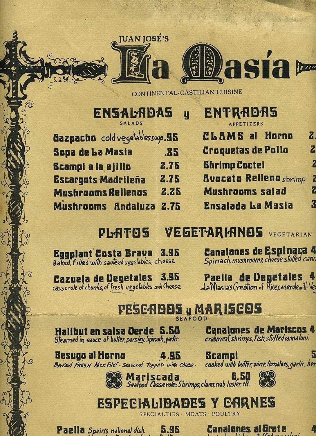 Juan Jose's LA MASIA Castillian Cuisine Menu Hollywood California 1970's