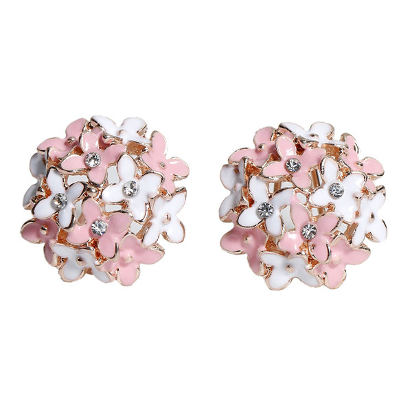 Earrings Ear Studs Light Golden White & Pink Flower Clear Rhinestone Enamel 23mm x 21mm