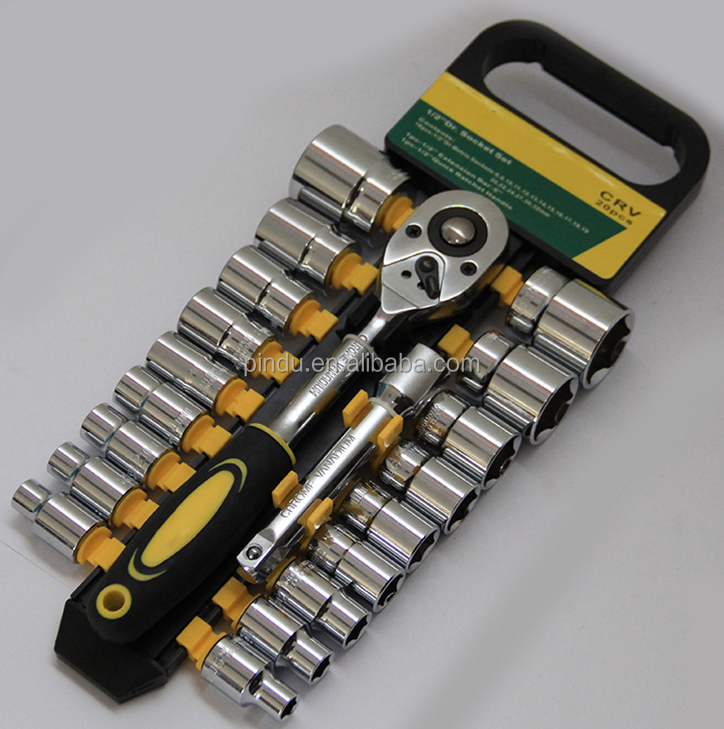 1/2'' 20pcs car repair tool kit cr-v ratchet socket wrench set
