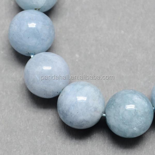 8-9mm Round Natural Aquamarine Gemstone Beads, about 46pcs/strand, 15.3(G-R173-8mm-03