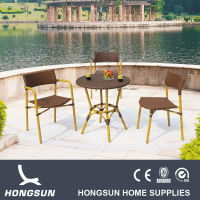 Waterproof stackable bamboo look outdoor patio furniture