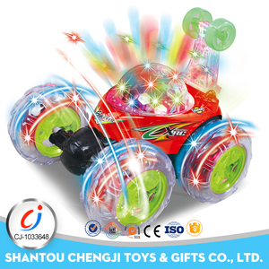 Kids remote control toy high speed stunt car with light and music
