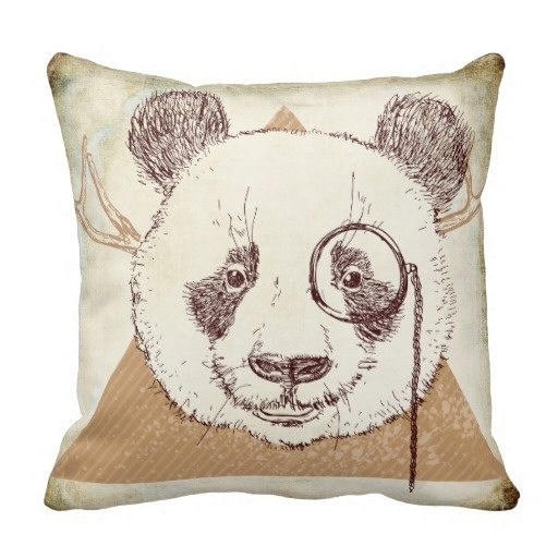 Fast Hipster Panda Bear Illustration Pillow Case (Size: 45x45cm) Free Shipping