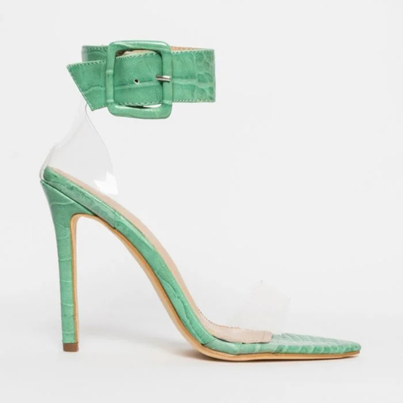 2019 Women Sexy Textured Snake Print Vegan Leather Sandal Shoes Platform Ankle-strap Fastening Open Toe Block High <strong>Heel</strong>