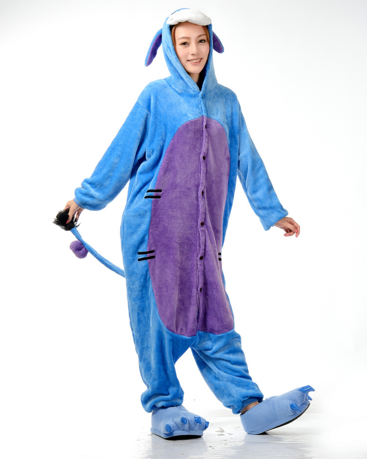 Get Quotations · New Unisex Adult Pajamas Cosplay Costume Animal Onesie  Eeyore Donkey Sleepwear S M L XL c0ce55b2d317