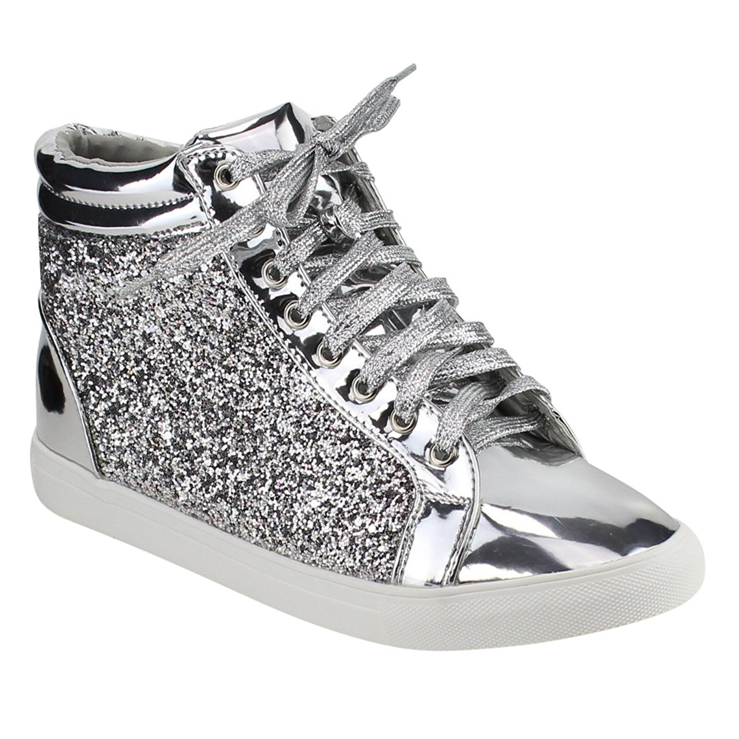 Women Fashion Light Weight Glitter Metallic Leatherette Quilted Lace Up Shoe Lace Up Low Top Stylish Sneaker (9, Silver Sparkle-25)