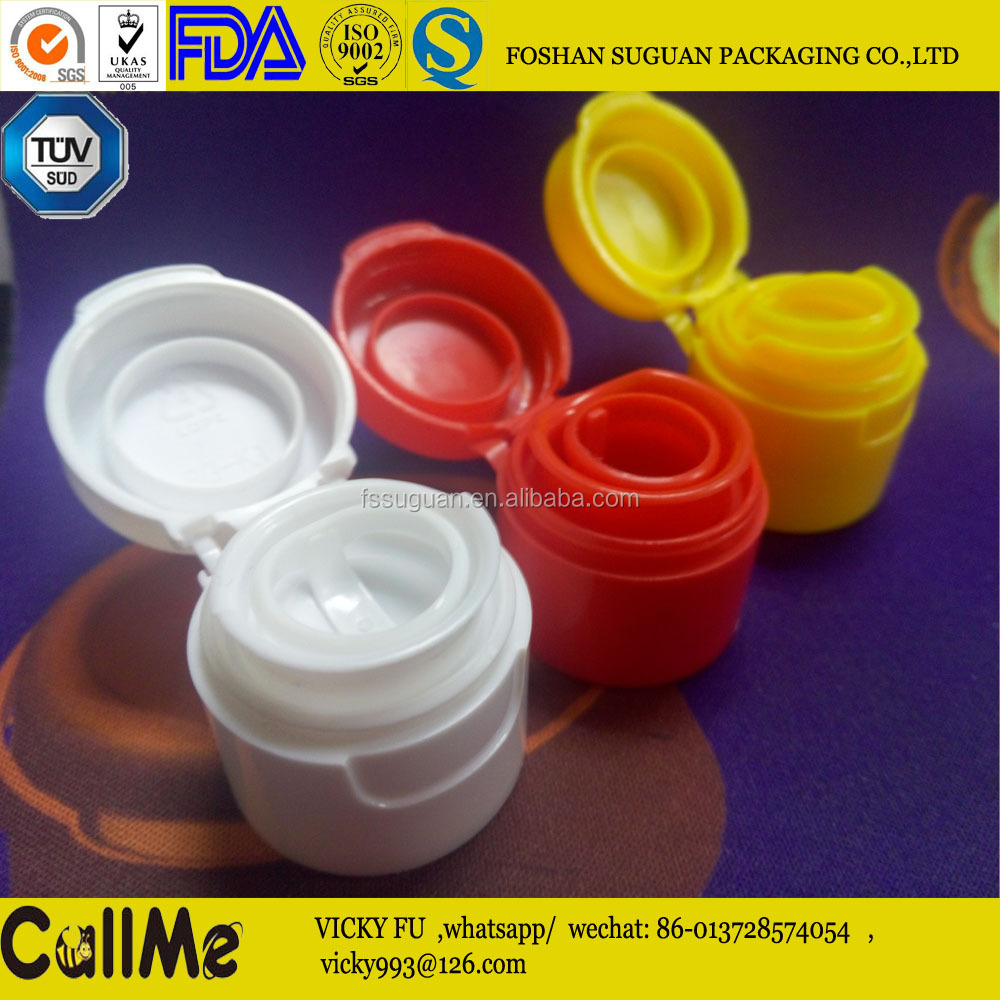 Factory 28mm PCO flip top pull ring hdpe plastic caps for sauce