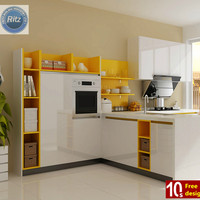 Modern kitchen cabinet with door knobs in different colors