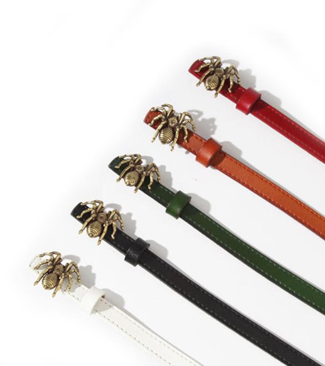 Echt Leder Dünne Smart Mode Design Spinne Tier Schnalle Taille Gürtel Kleid Gürtel Hohe Qualität Einzigartige Dünne Jeans Gürtel Für mädchen