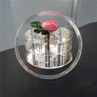 Luxury clear plastic flower box waterproof acrylic round flower box with lid