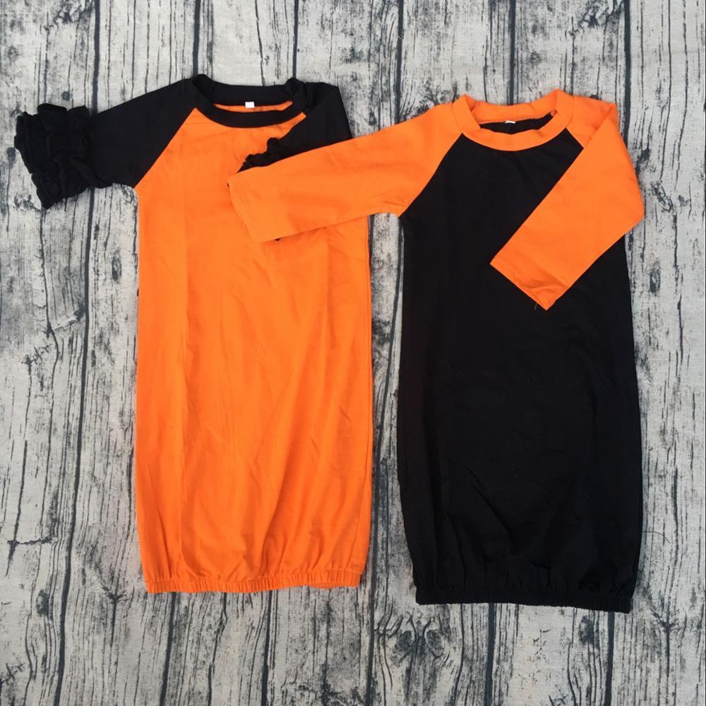 Newborn Baby Raglan Gown Ruffle Orange Body With Black 3/4sleeve ...
