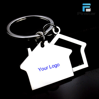 Factory Wholesale Promotional Custom Logo Metal Key Chain House Shaped Keychain