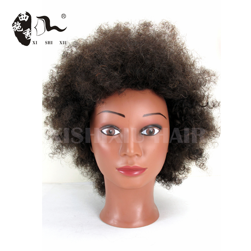 XISHIXIU 100 human hair hairdressing black afro training mannequin head