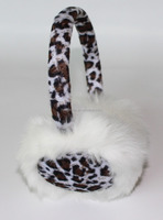 Plushy warm winter wired leopard printing headphones with mic and volume control,stereo cute headset with long cable for grils