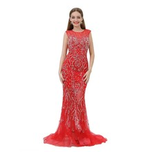 Women Dresses Luxury Evening Dress Red Long Gown Mermaid Prom Dress Party Wear Gowns with Heavy Beading