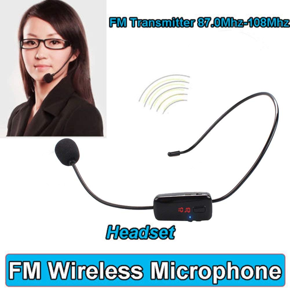 ERTIANANG For Speaker Teacher Radio FM Wireless Headset Microphone Handsfree Megaphone Mic With LCD Digital display