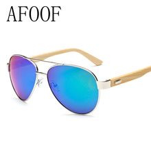 AFOOF 2016 New Fashion Bamboo Sunglasses Brand Designer Men Women Coating Sun glasses Eyewear UV400 Goggle Oculos de sol