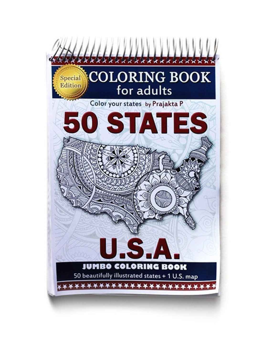 Adult coloring book - Special edition Jumbo book- All 50 maps of USA, stress relieving patterns for all