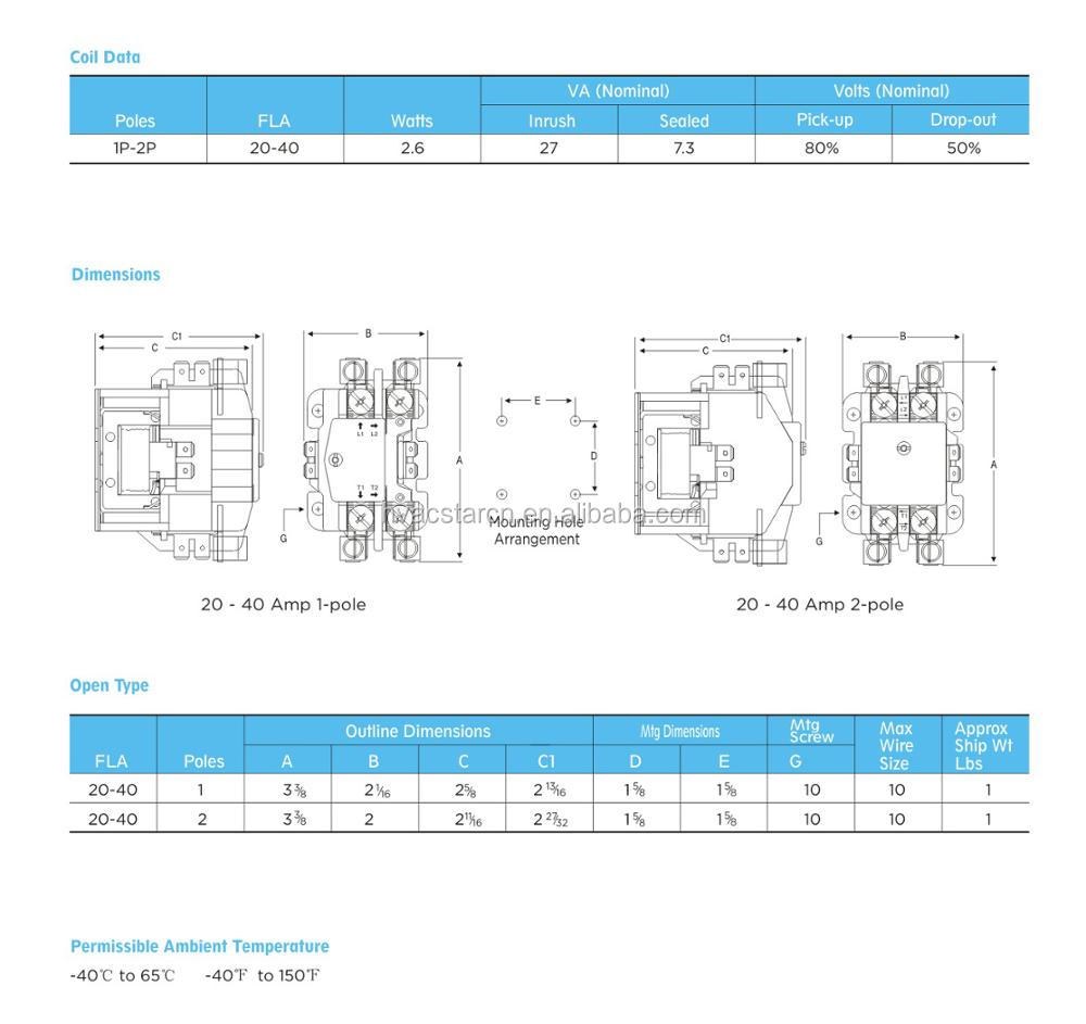 Definite Purpose Magnetic 40a Contactor40 Amp 2 Pole Contactor 1 Wiring Diagram