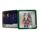 Custom printing square christmas gift tin box with clear window tin can making