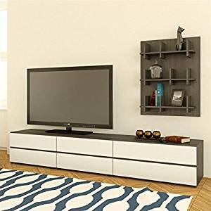Nexera Allure TV Stand, Bookcase Wall Panel and Storage