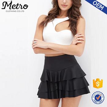 cffdf855c Hight Waist Women Layered Ruffled Black Faux Leather Skirt - Buy ...