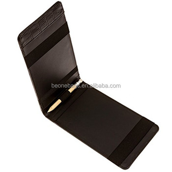 Custom PU leather golf score card holder golf yardage book with pencil