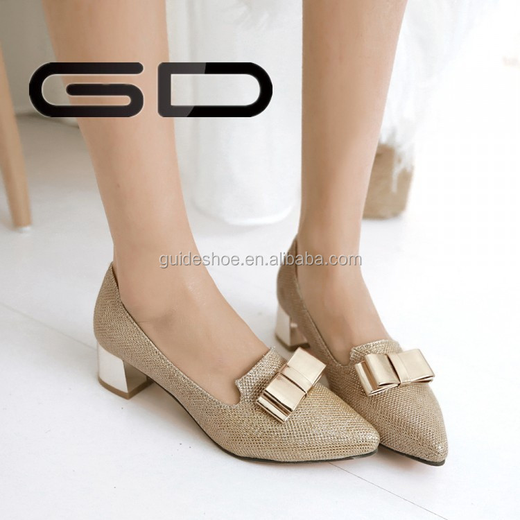 designer sequins fabric low heel fashionable shoes for women