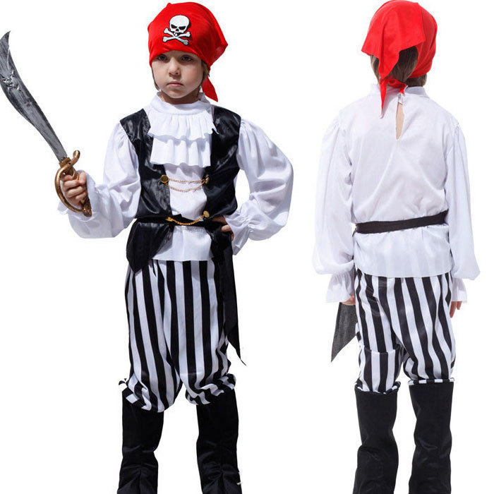 Children's Full Sleeve Classic Halloween Costumes Boys Pirate Costume Kids Carnival Costume For Kids Boys Cosplay Costume