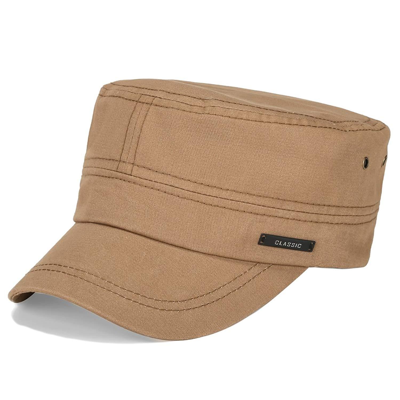 2d149871 Get Quotations · Vankerful Men's Twill Cotton Peaked Baseball Cap Cadet  Army Cap Military Corps Hat Cap Visor Flat