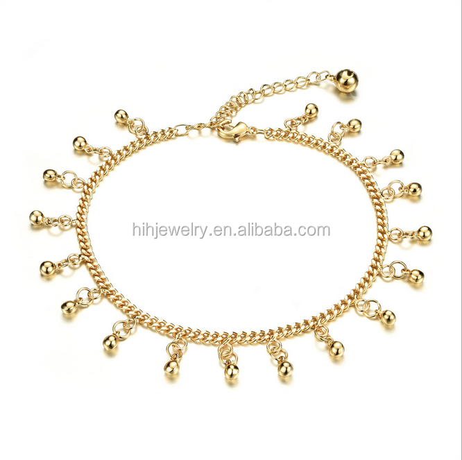 Fancy women summer jewelry small bell 18K gold anklet designs