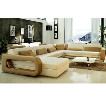 Luxury Furniture Living Room U Shape Leather Sofa Modern Design